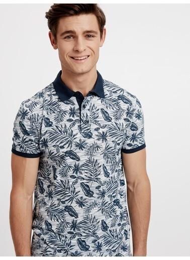 LC Waikiki Çiçekli Polo Yaka Tişört Mavi